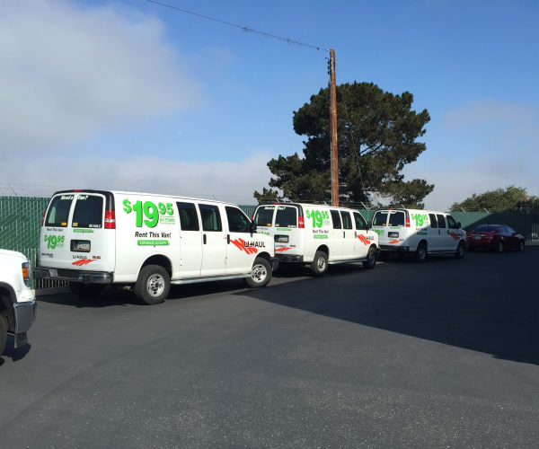 U-Haul trucks available for rent at Airport Road Storage in Monterey, California