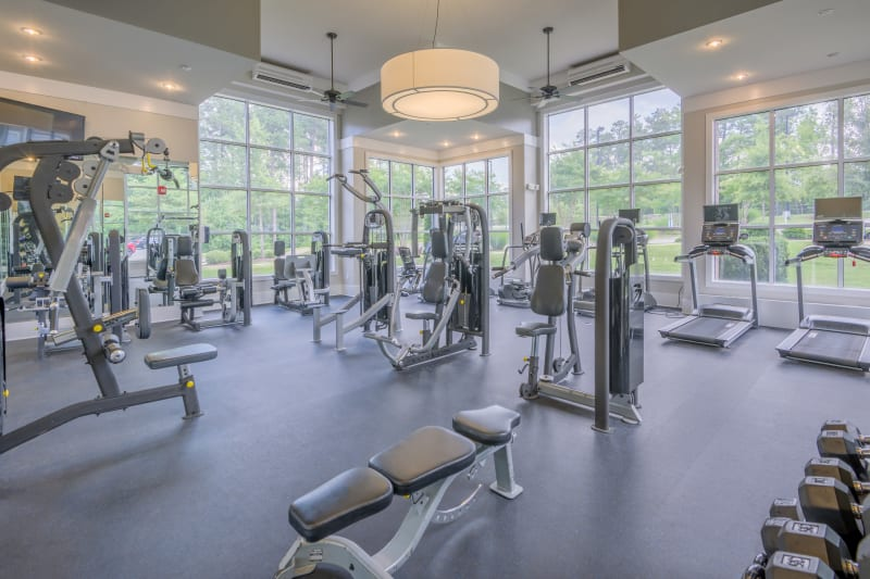 Well equipped fitness center at Sterling Town Center in Raleigh, North Carolina