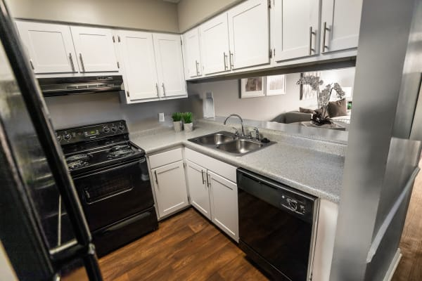 Plenty of storage space in the kitchen of a model home at Mill Creek Flats in Winston Salem, North Carolina