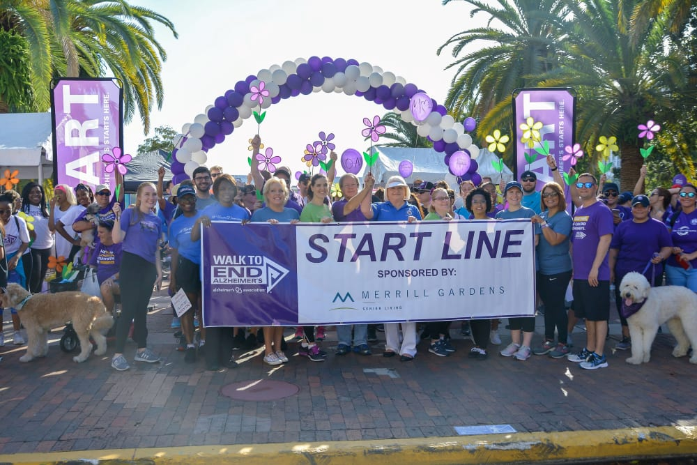 A fundraiser walk near Merrill Gardens at Solivita Marketplace in Kissimmee, Florida.