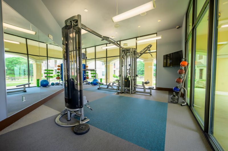 Exercise weights at Pecan Springs Apartments in San Antonio, Texas