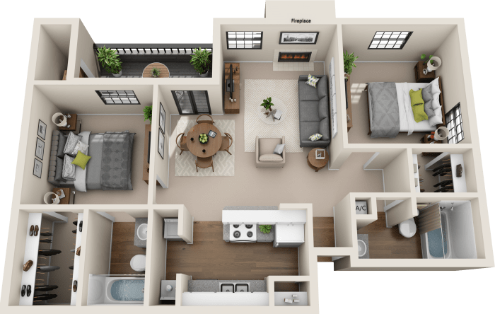 2 bedroom layout at Promontory Point Apartments in Austin, Texas