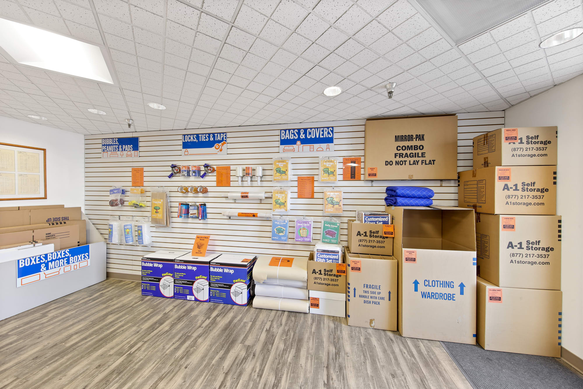 Packing and moving supplies available from A-1 Self Storage in La Mesa, California