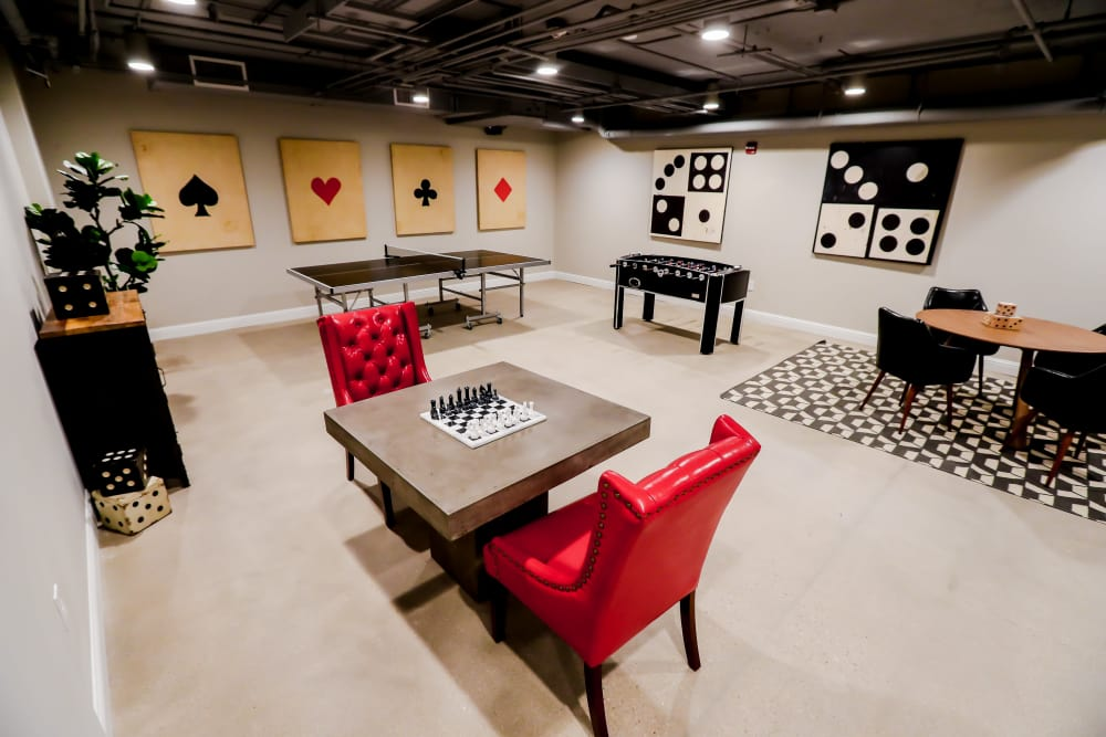 Spacious game room at Halcyon House in Denver, Colorado