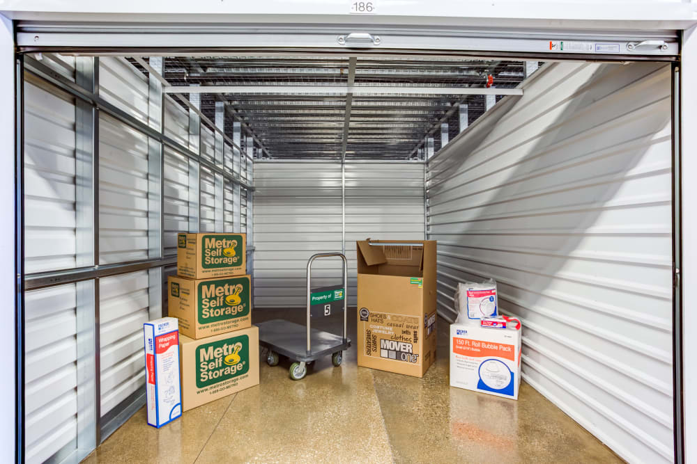 Unit interior with packages at Metro Self Storage in Northbrook, Illinois