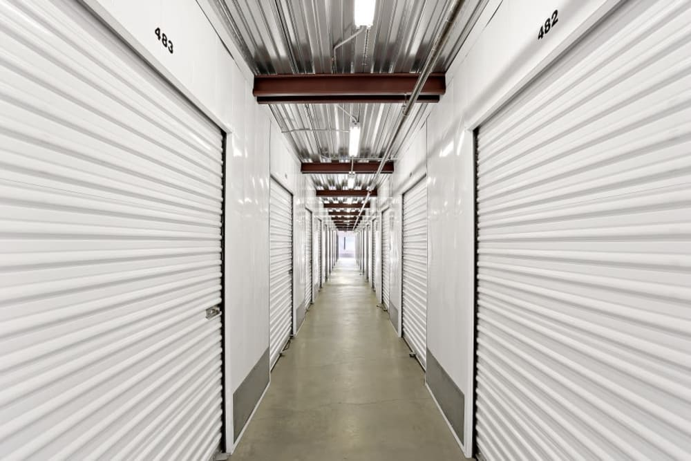 A row of indoor storage units at A-1 Self Storage in Lakeside, California