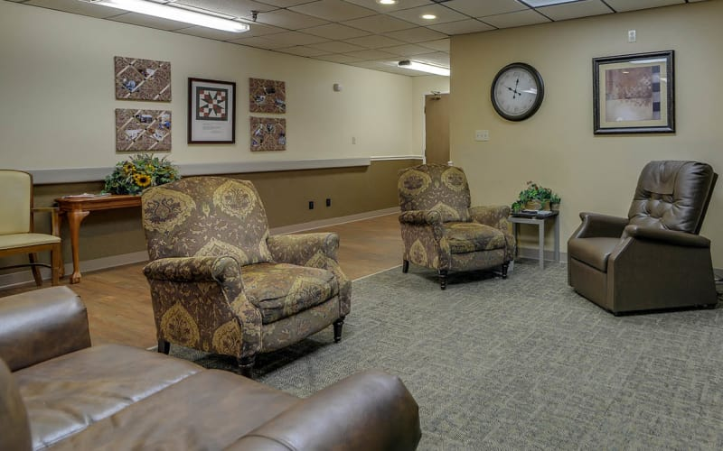 The community lounge at Pleasant Valley in Sedan, Kansas