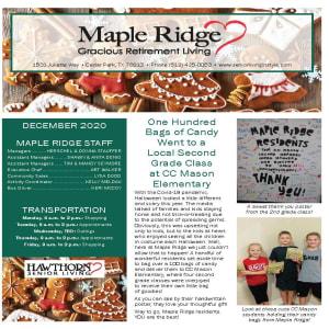 December Maple Ridge Gracious Retirement Living newsletter