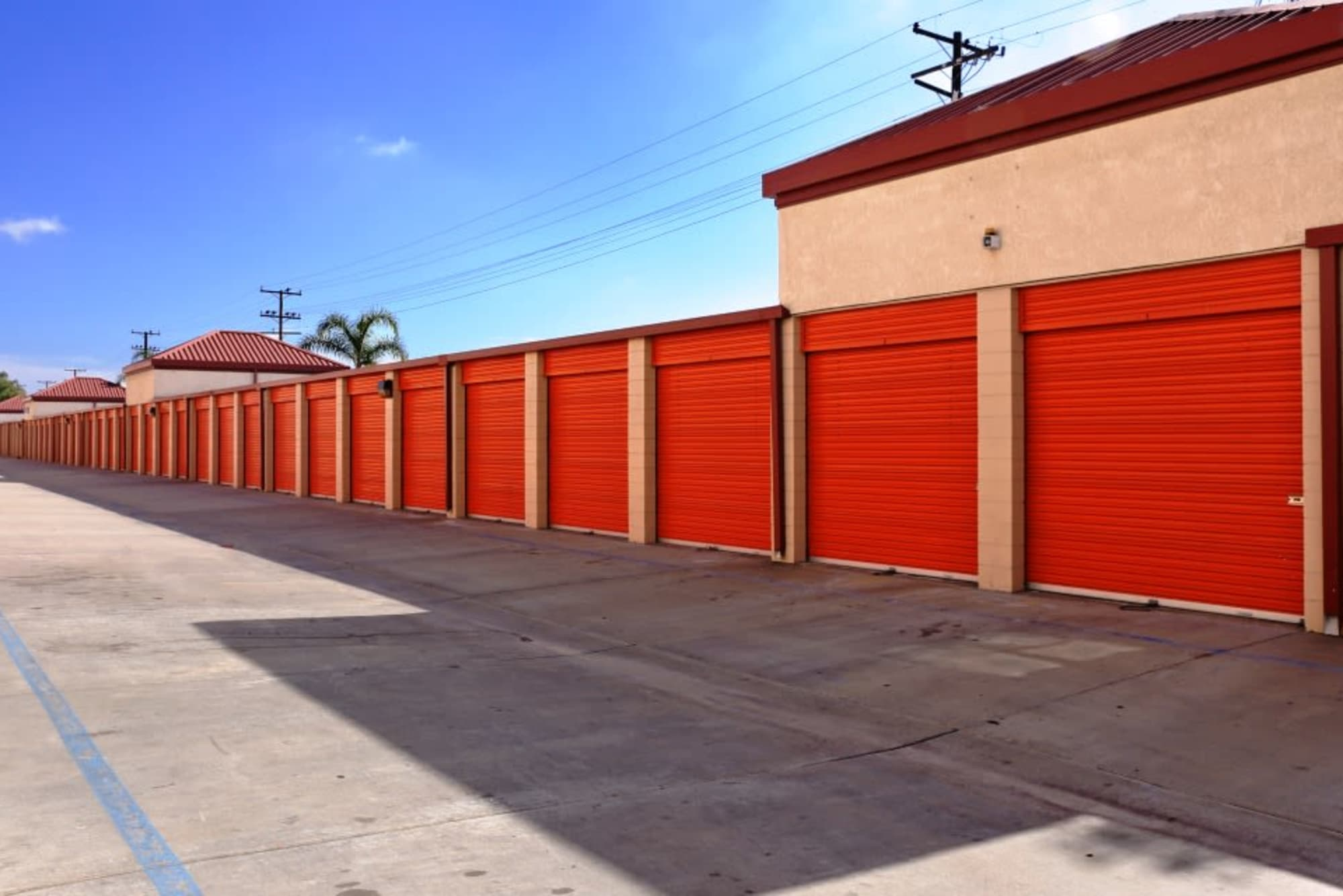Outdoor storage units at A-1 Self Storage in Fullerton, California