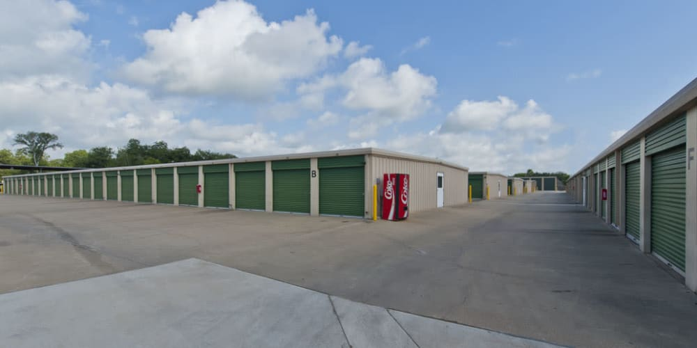 Outdoor drive-up units at StorQuest Self Storage in Stockton, California