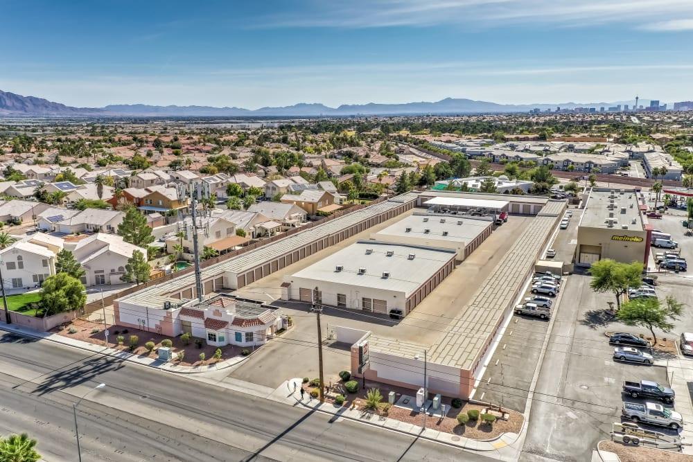 Aerial view of Crown Self Storage in North Las Vegas, Nevada
