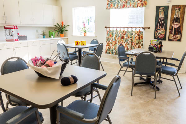 The community at Artis Senior Living of Briarcliff Manor features a neighborhood square common area for residents to relax