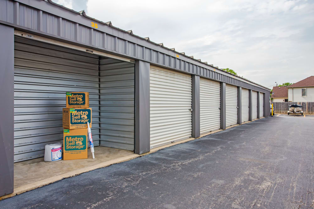 Open unit with packages at Metro Self Storage in Northlake, Illinois