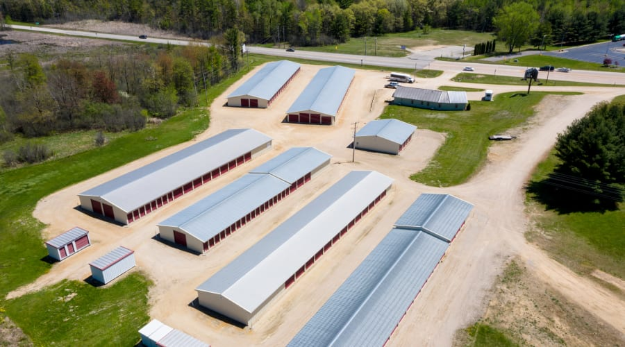 Aerial view of the facilities and grounds at KO Storage of Tomah - McCoy in Tomah, Wisconsin