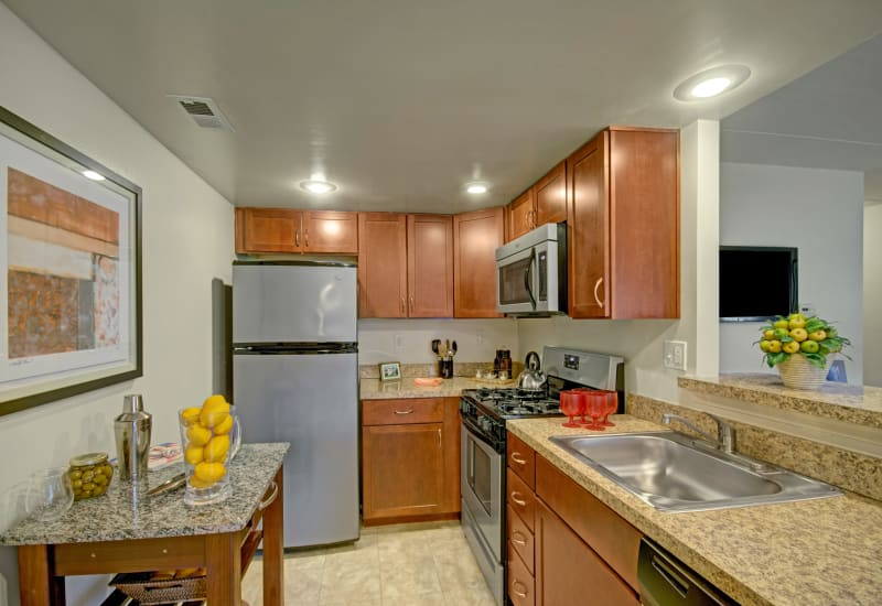 Kitchen with stainless steel appliances at Racquet Club Apartments and Townhomes in Levittown, Pennsylvania