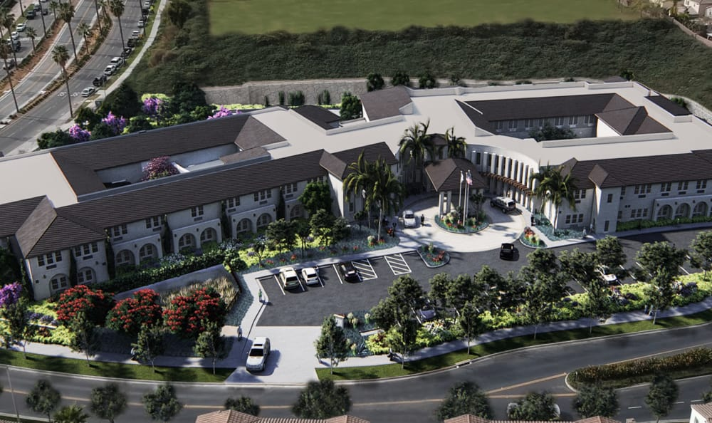Aerial view of front entrance at Sienna at Otay Ranch in Chula Vista, California