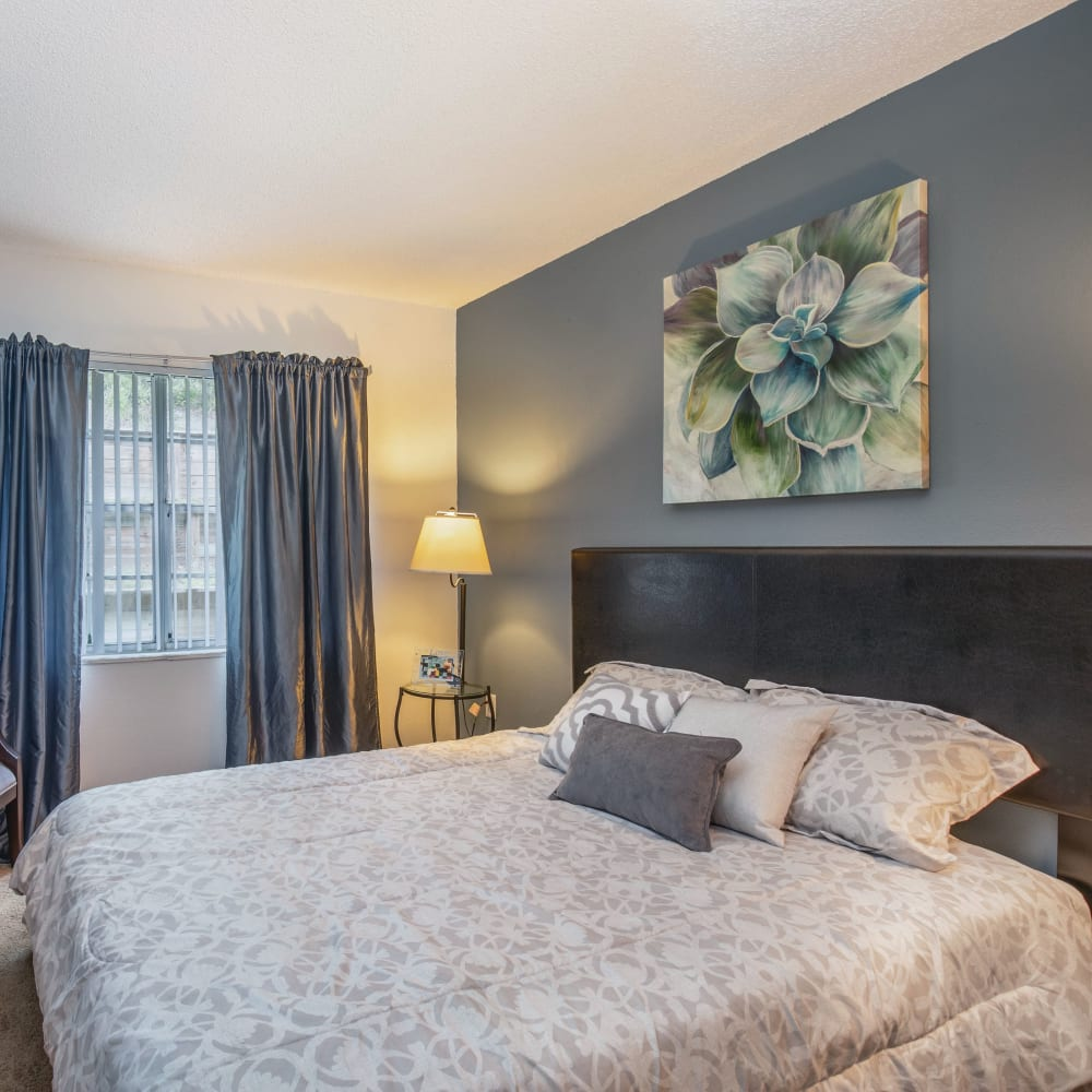 A bedroom with a window at Southern Cove Apartments in Temple Terrace, Florida