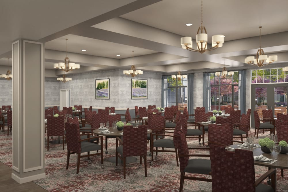 A large assisted living dining room at Anthology of Midlothian - Opening Early 2021 in North Chesterfield, Virginia