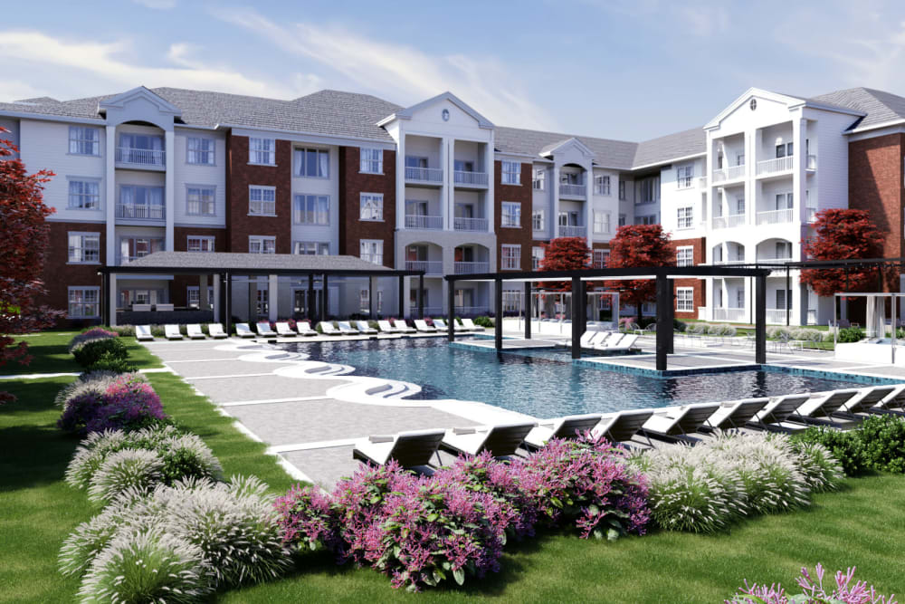Resident pool and courtyard at Jubilation in Fredericksburg, Virginia.
