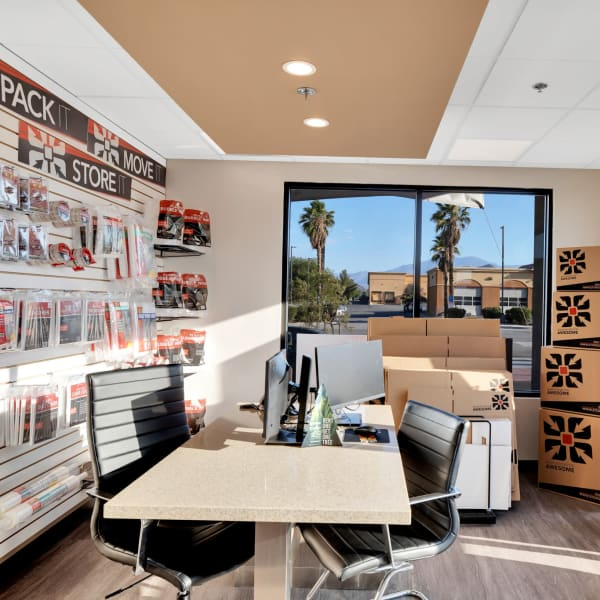 Packing supplies available in the leasing office of StorQuest Self Storage in Bermuda Dunes, California