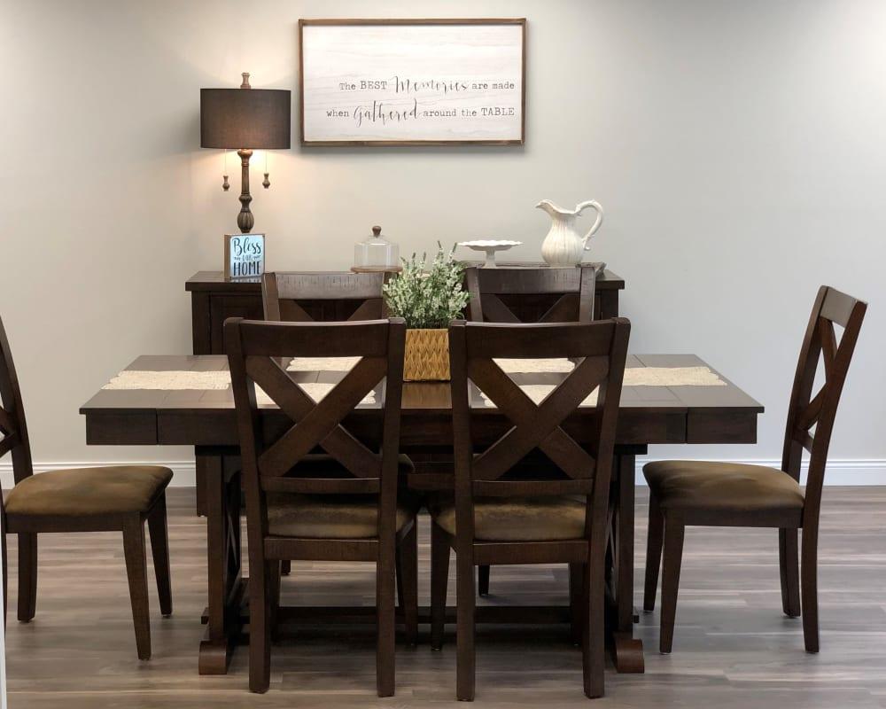 Dining room suite in residential care apartment at Corridor Crossing Place in Cedar Rapids, Iowa.