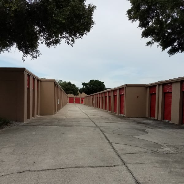 Outdoor drive-up access storage units at StorQuest Self Storage in Tampa, Florida