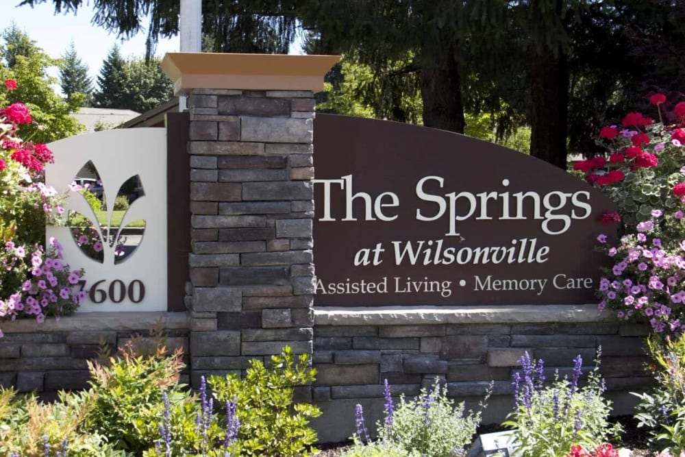 Sign for The Springs at Wilsonville outside the facility in Wilsonville, Oregon