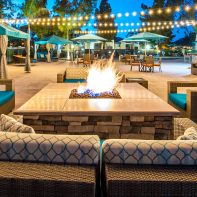 Outdoor fire pit and lounge at Sofi Poway in Poway, California