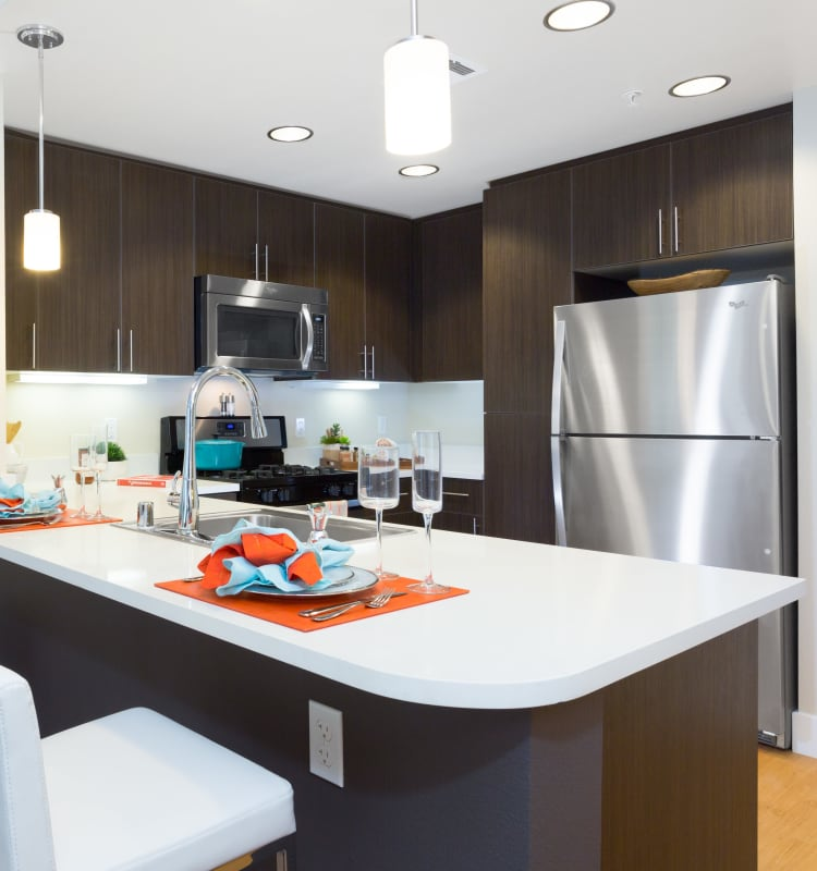 Modern kitchen with sleek, stainless-steel appliances in a model home at Sofi Riverview Park in San Jose, California