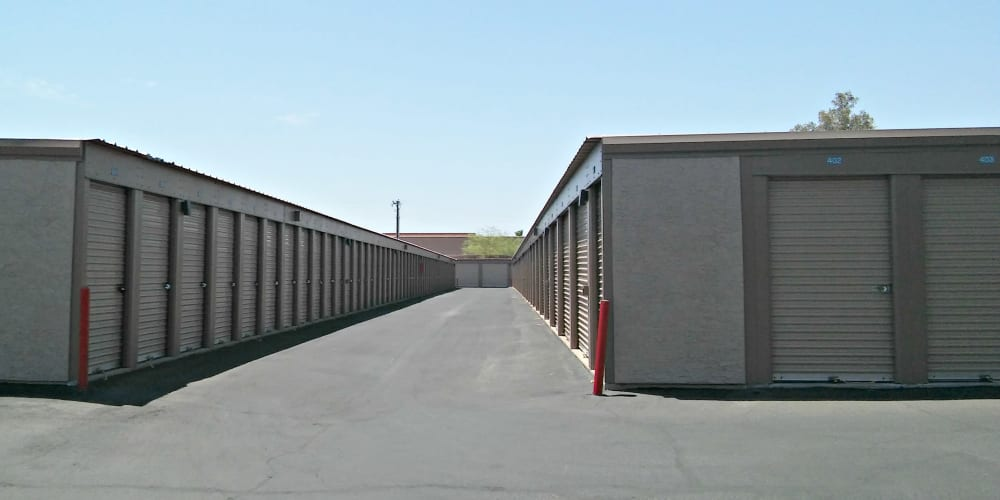Outdoor drive-up storage units at StorQuest Self Storage in Tempe, Arizona