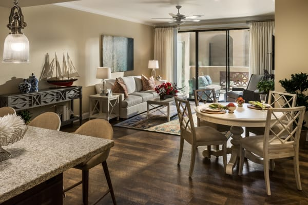 Living and dining room at San Portales in Scottsdale, Arizona