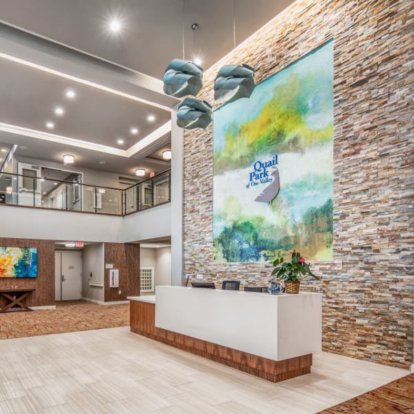 Main entrance and reception at Quail Park of Oro Valley in Oro Valley, Arizona