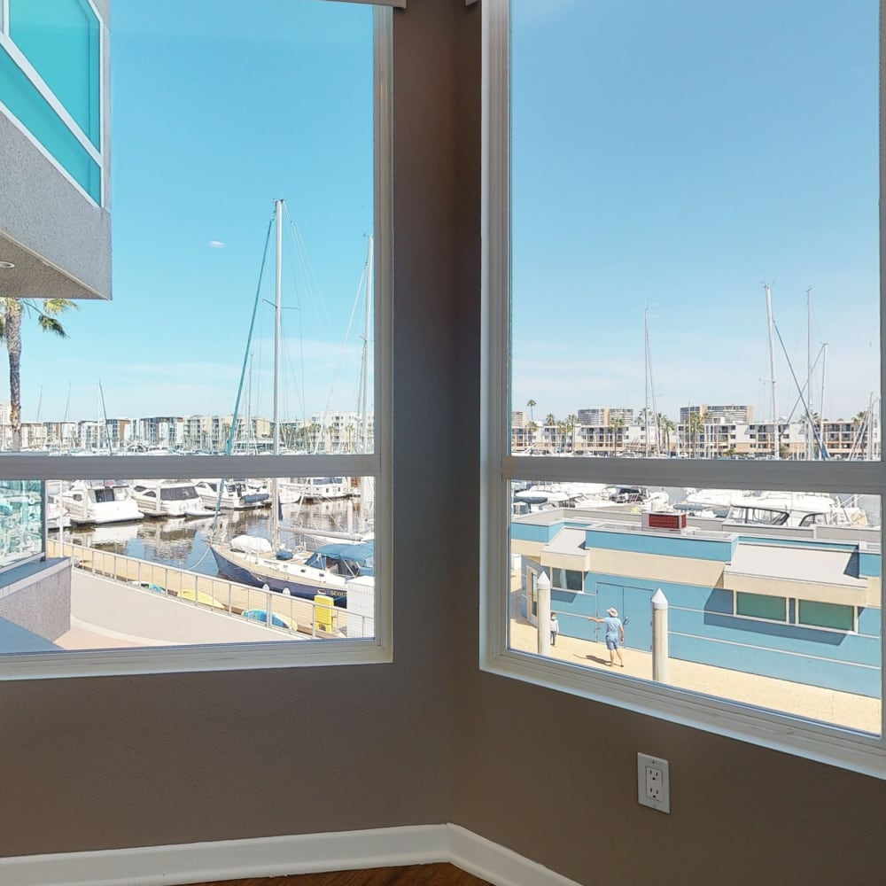 Beautiful marina and view from a model two bedroom apartment at Esprit Marina del Rey in Marina Del Rey, California