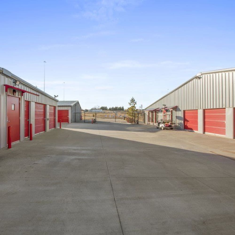 Spacious driveways at Global Self Storage in Edmond, Oklahoma