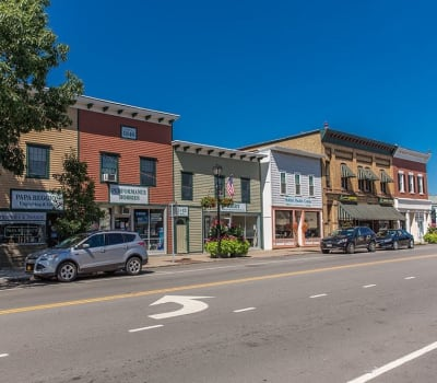 Village shops near Waters Edge Apartments in Webster, New York