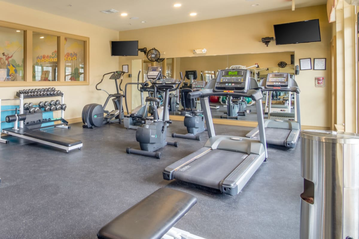 Resident enjoying the modern gym at Central Park Estates in Novi, Michigan