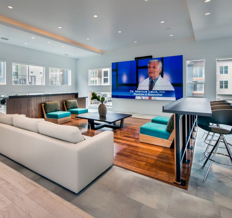 The resident lounge at Elevate in Englewood, Colorado
