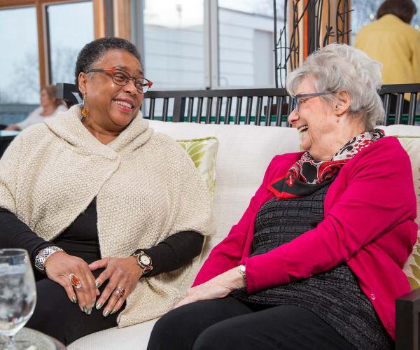 Residents chatting at All Seasons of Birmingham in Birmingham, Michigan