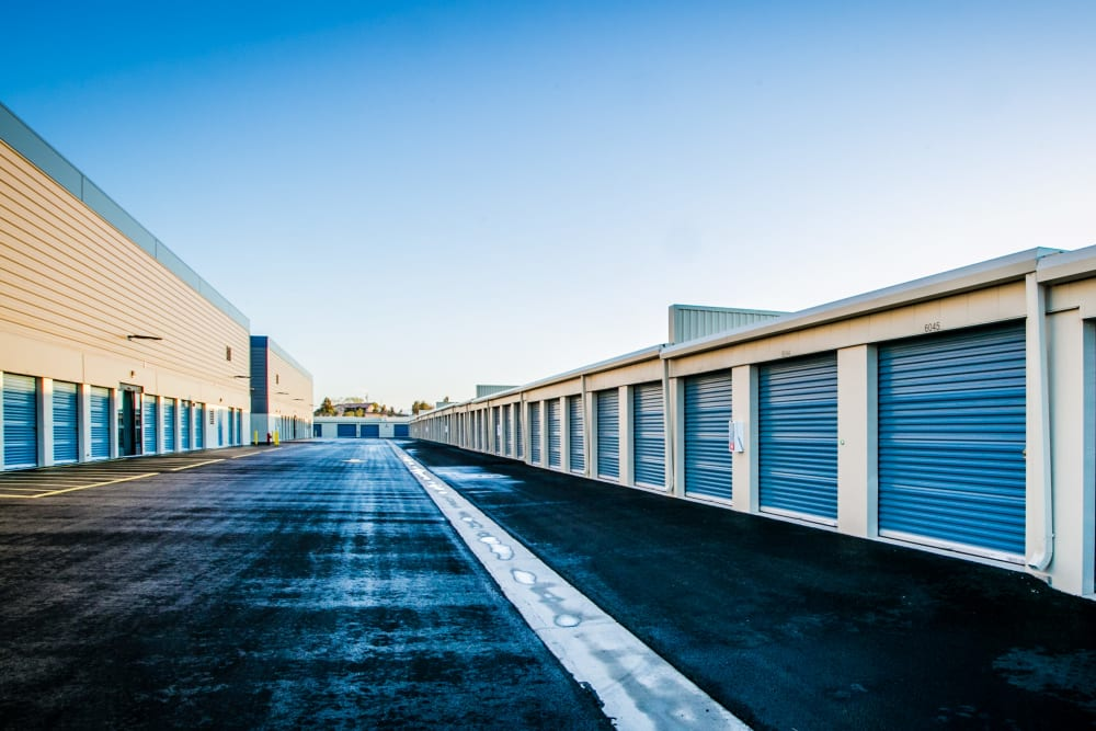 Wide driveway and storage units at Golden State Storage - Blue Diamond in Las Vegas, Nevada
