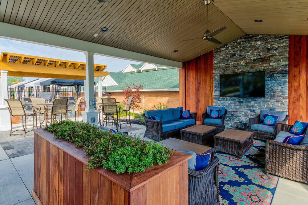 Relax near the pool in the lounge area at Aspen Pines Apartment Homes in Wilder, Kentucky