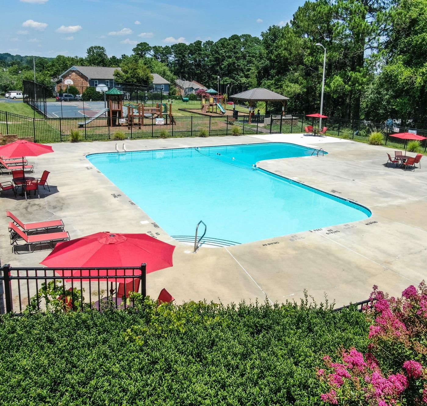Sparkling pool at Rippling Stream Townhomes in Durham, North Carolina