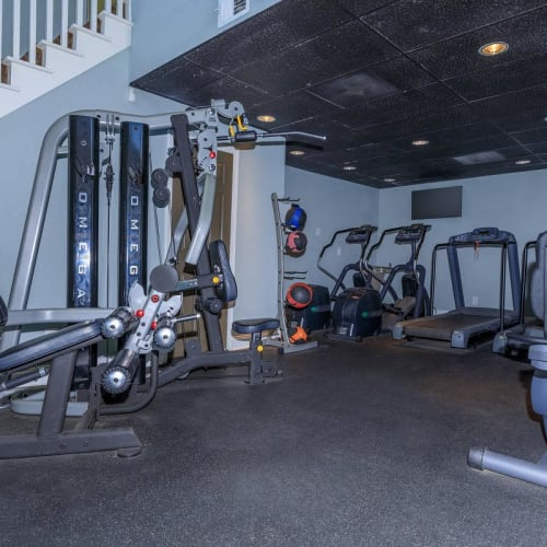 View virtual tour of the fitness center at The Bentley at Marietta in Marietta, Georgia