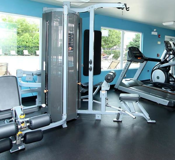 Fitness Center Equipment at West Line Apartments in Hanover Park, Illinois