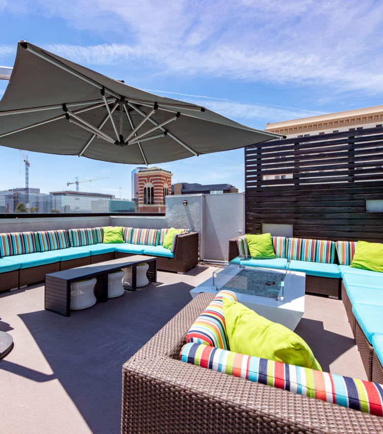 Plenty of comfortable places to relax at the rooftop lounge at Sofi at 3rd in Long Beach, California