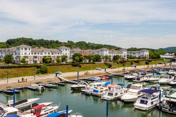 Enjoy the neighborhood and the boats at the docks at The Docks Apartments & Townhomes in Pittsburgh, Pennsylvania