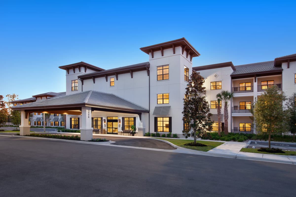 The building exterior at Keystone Place at Four Mile Cove in Cape Coral, Florida