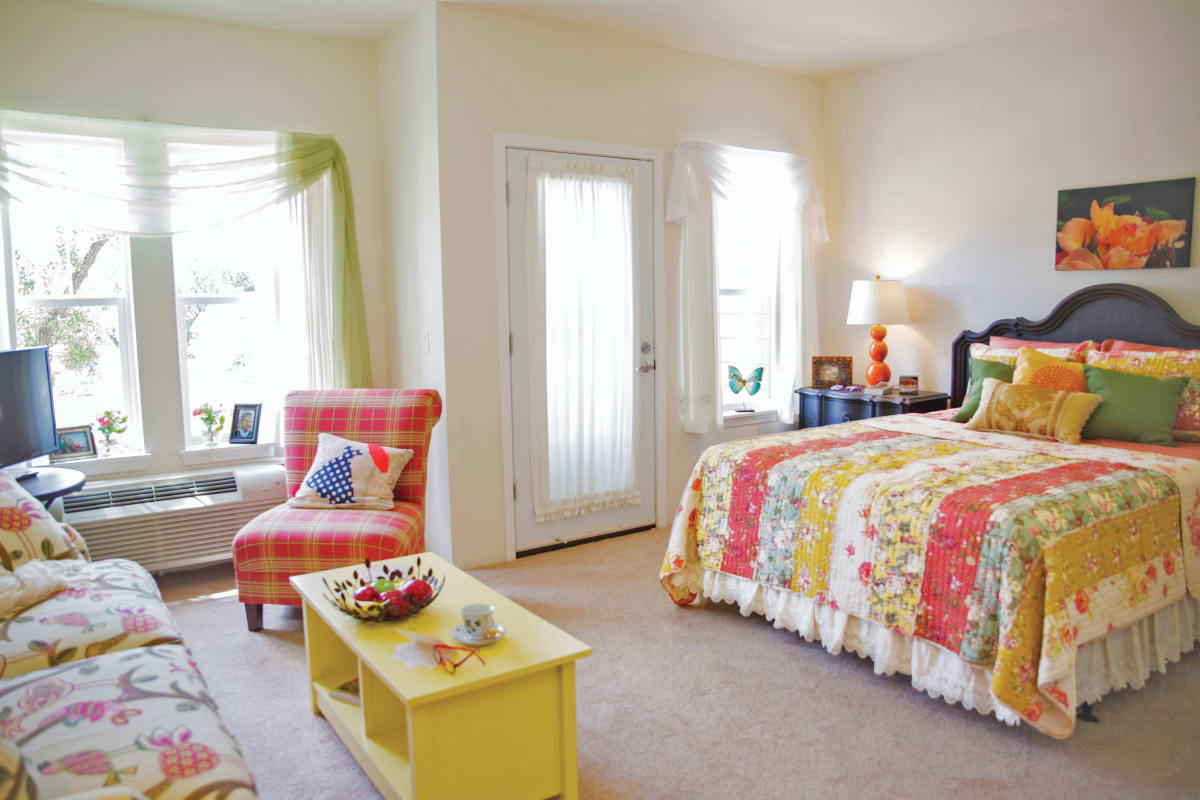 Spacious bedrooms at Camellia Gardens Gracious Retirement Living in Maynard, Massachusetts