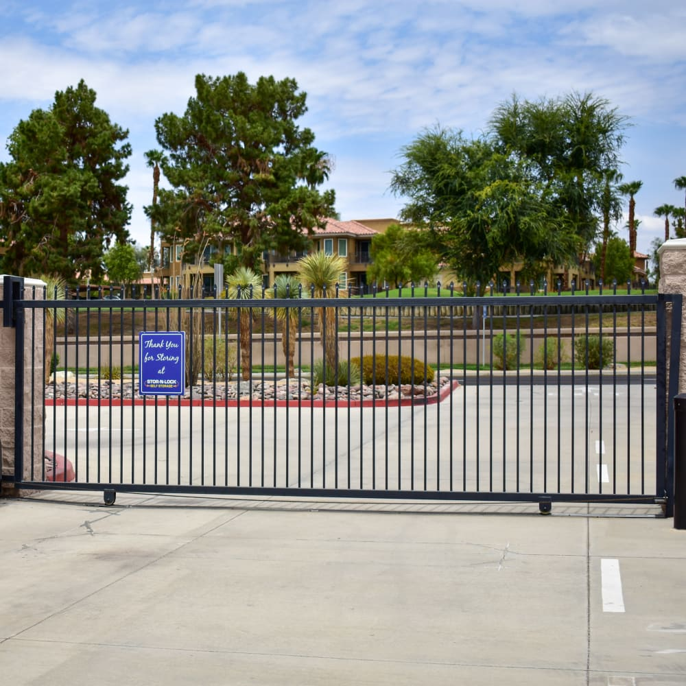 The secure gate at STOR-N-LOCK Self Storage in Palm Desert, California