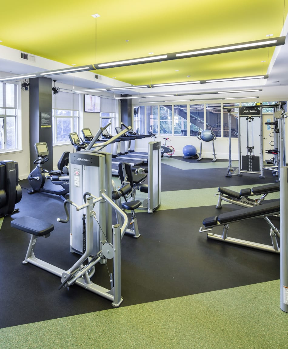 Residents staying in shape in the fitness center at Sofi at 50 Forest in Stamford, Connecticut