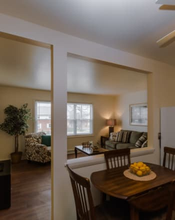 Dining and living room at Rochester Highlands in Rochester